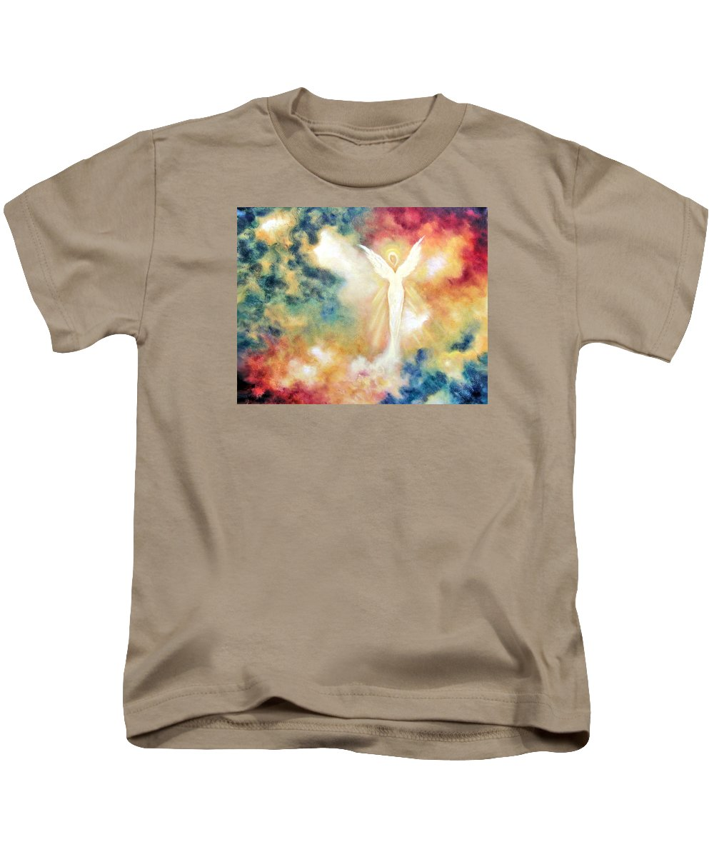 Angel Kids T-Shirt featuring the painting Angel Light by Marina Petro