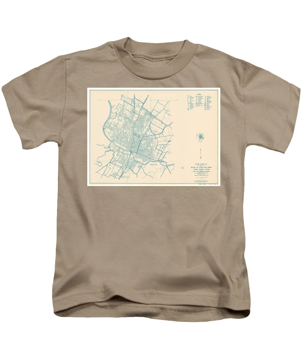 Antique Map Of Travis County Kids T-Shirt featuring the drawing Antique Maps - Old Cartographic Maps - Antique Map Of Travis County, Texas, 1936 by Studio Grafiikka