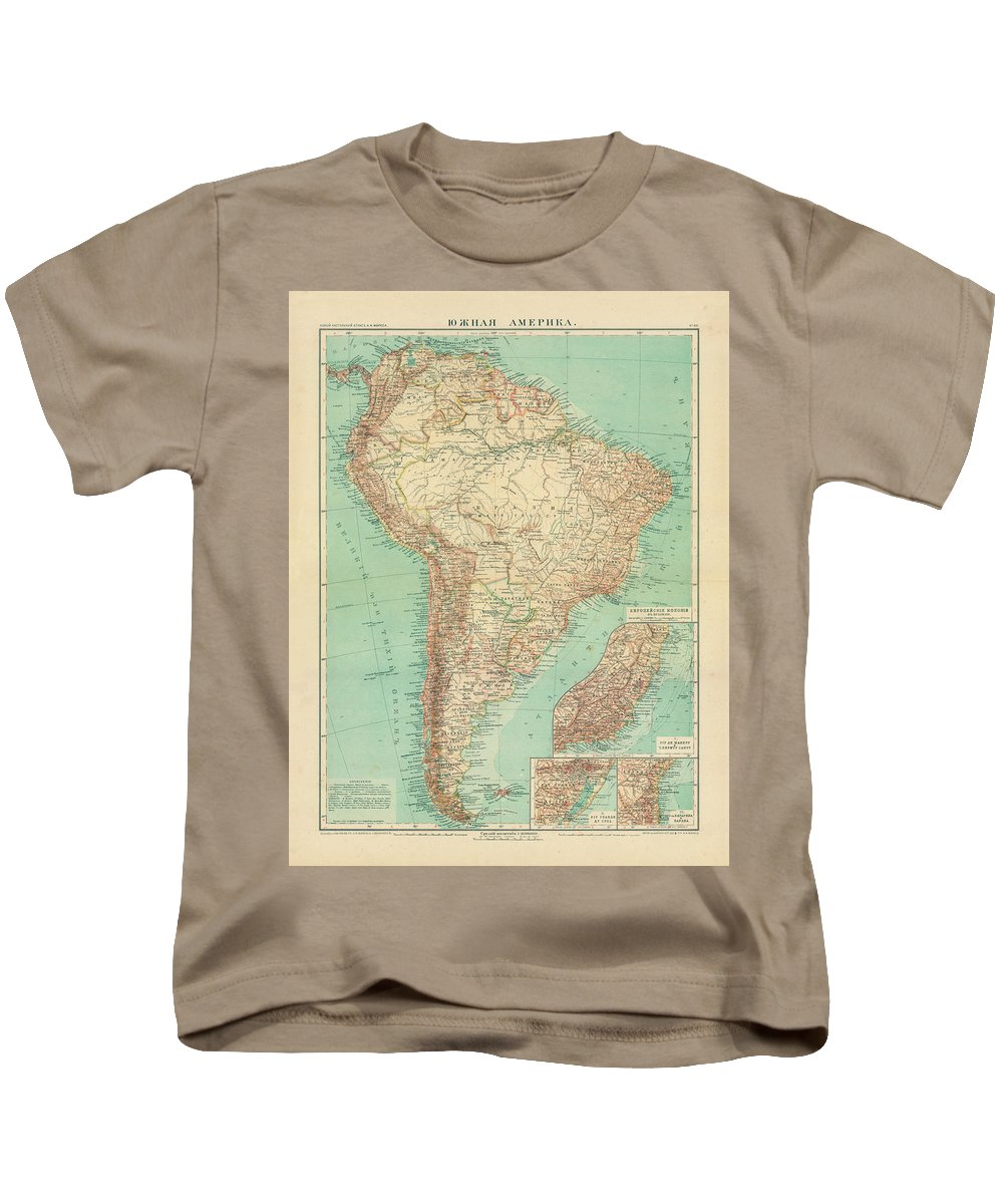 Antique Russian Map Of South America Kids T-Shirt featuring the drawing Antique Maps - Old Cartographic Maps - Antique Russian Map Of South America by Studio Grafiikka