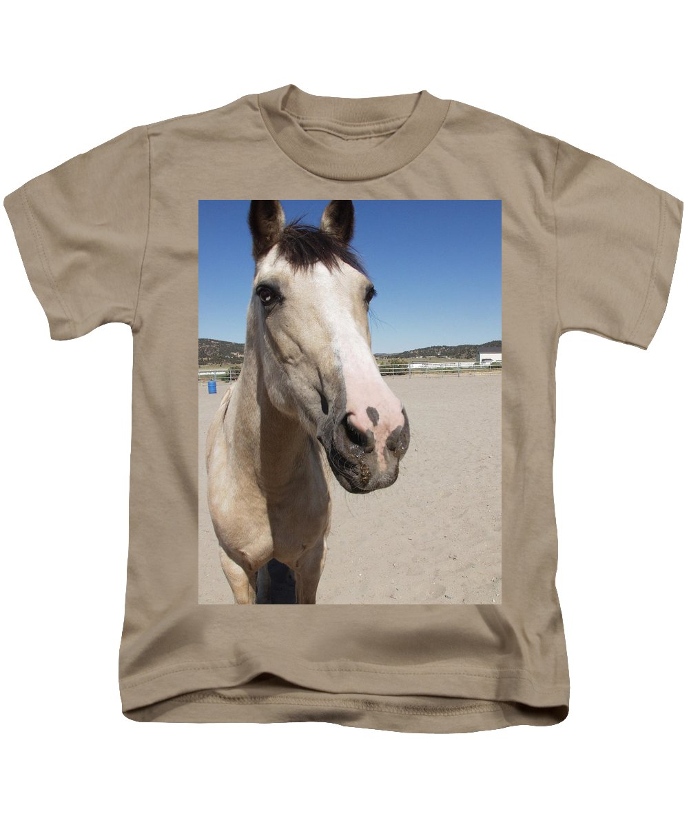 Horses Kids T-Shirt featuring the photograph Any Carrots by Jamey Balester