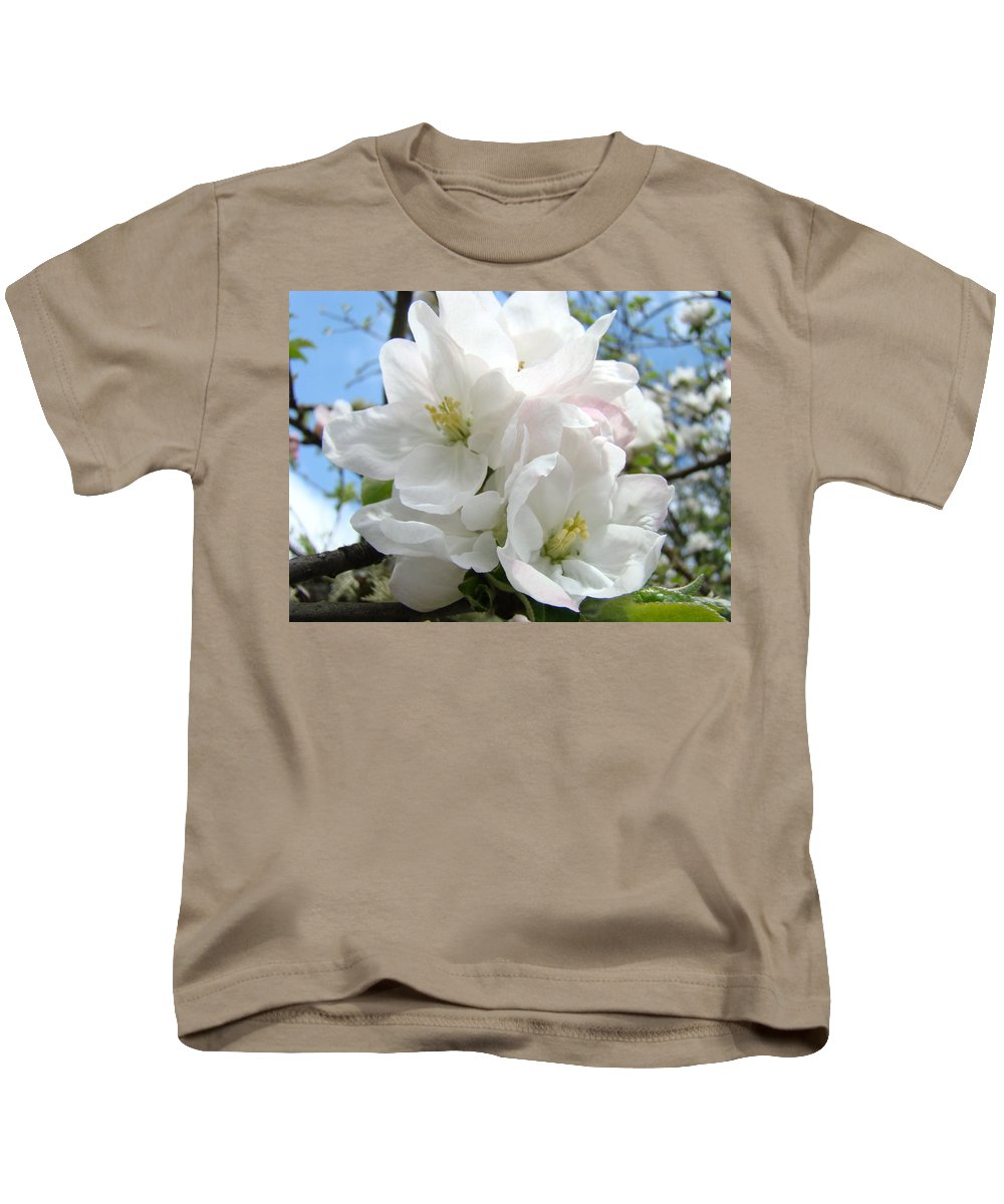�blossoms Artwork� Kids T-Shirt featuring the photograph Apple Blossoms Art Prints Giclee 48 Spring Apple Tree Blossoms Blue Sky Macro Flowers by Baslee Troutman