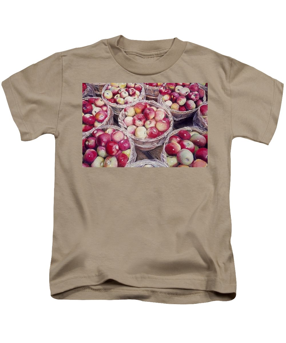 Red Kids T-Shirt featuring the painting Apples by Constance Drescher