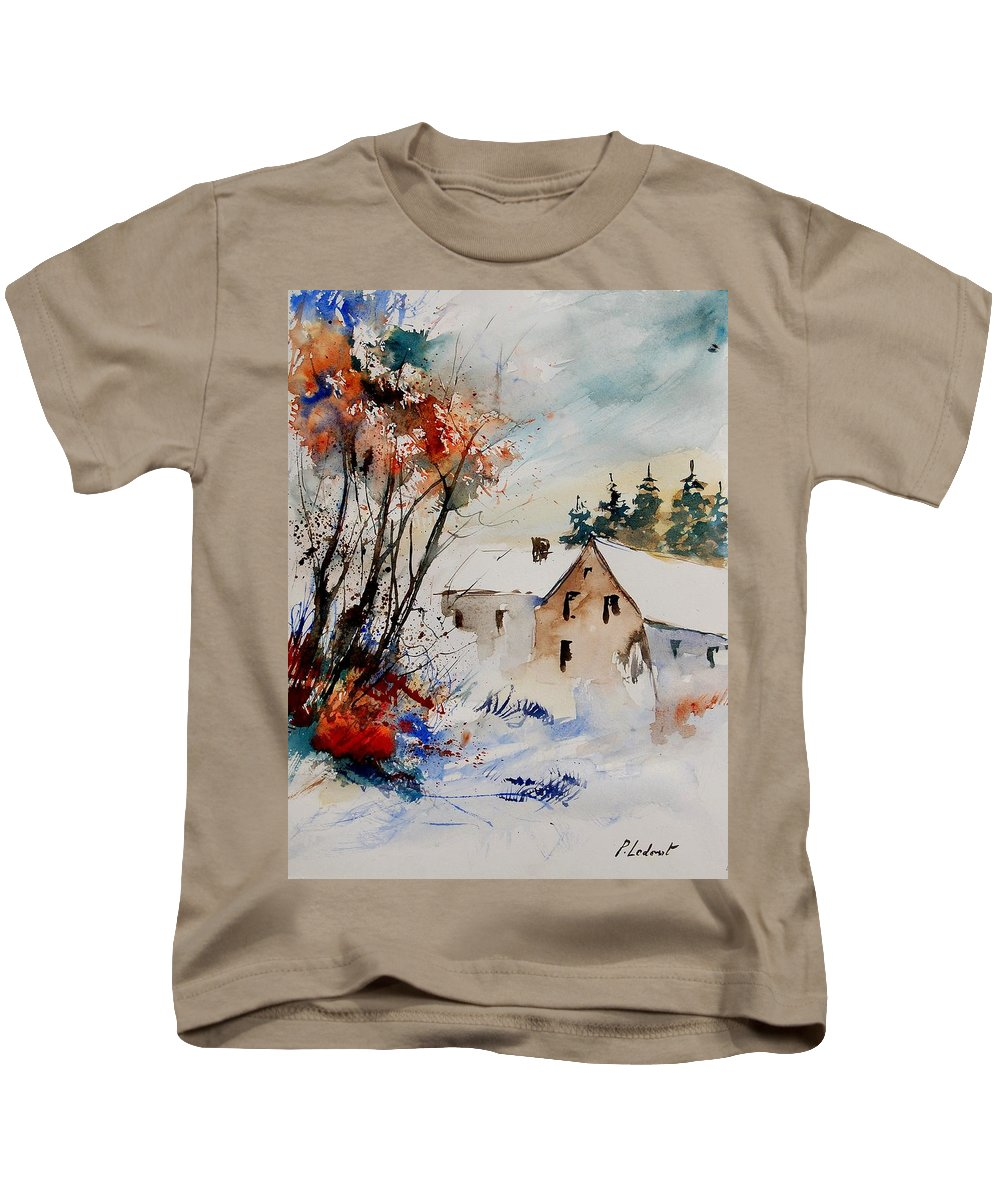 Winter Kids T-Shirt featuring the painting Aqua 905070 by Pol Ledent