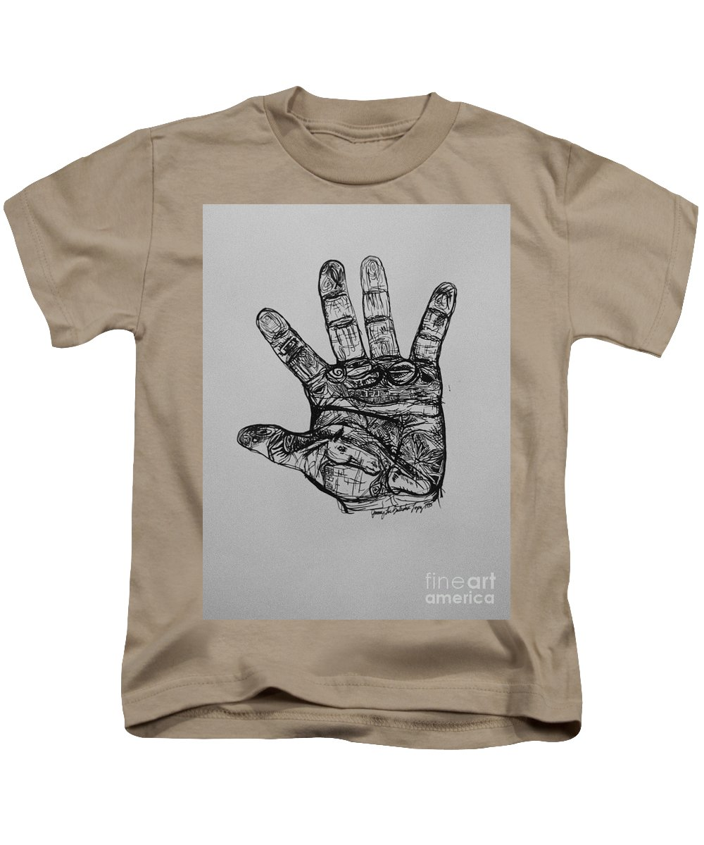 Hands Kids T-Shirt featuring the drawing Artist Hand Variation I by Jamey Balester
