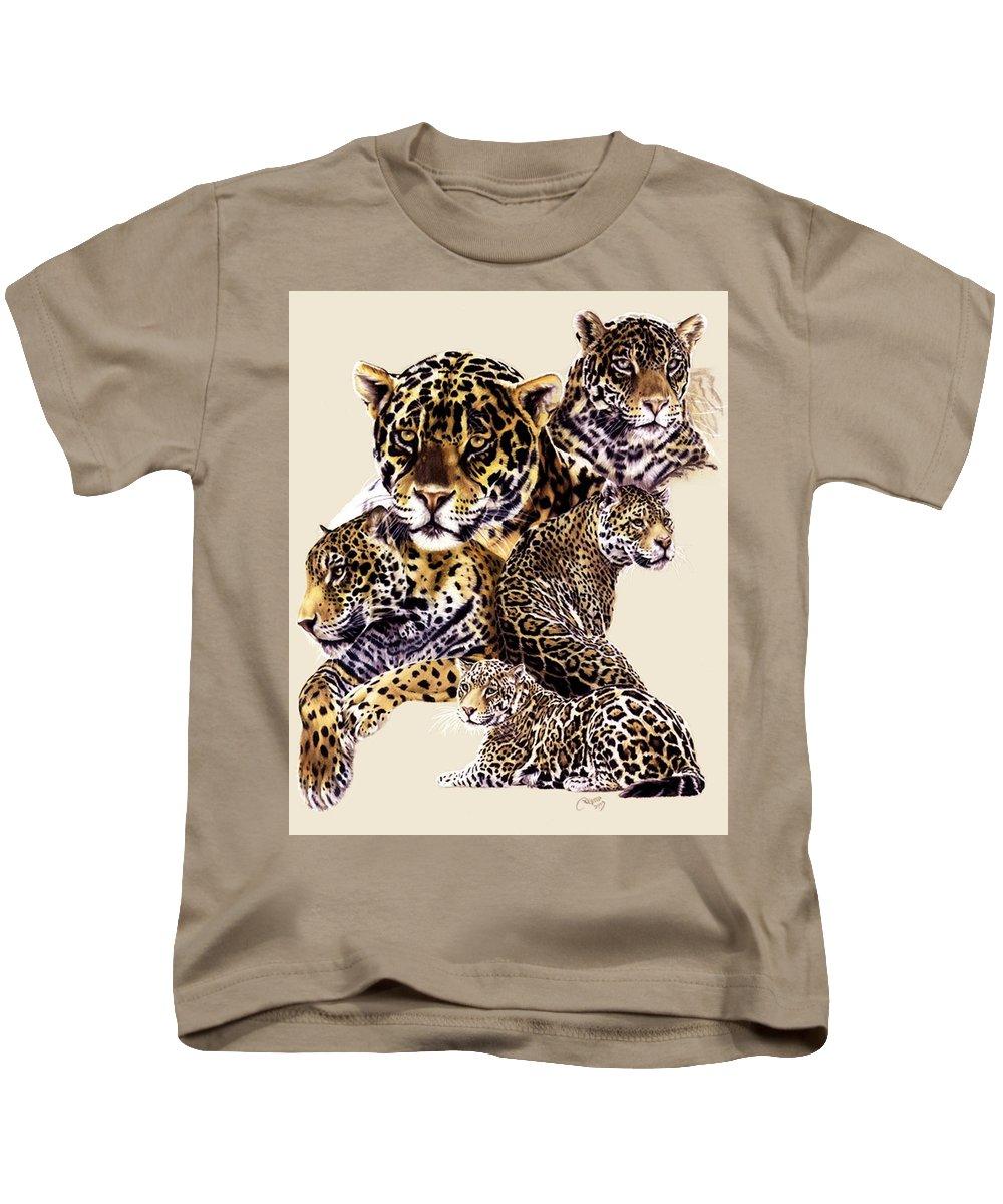 Jaguar Kids T-Shirt featuring the drawing Burn by Barbara Keith