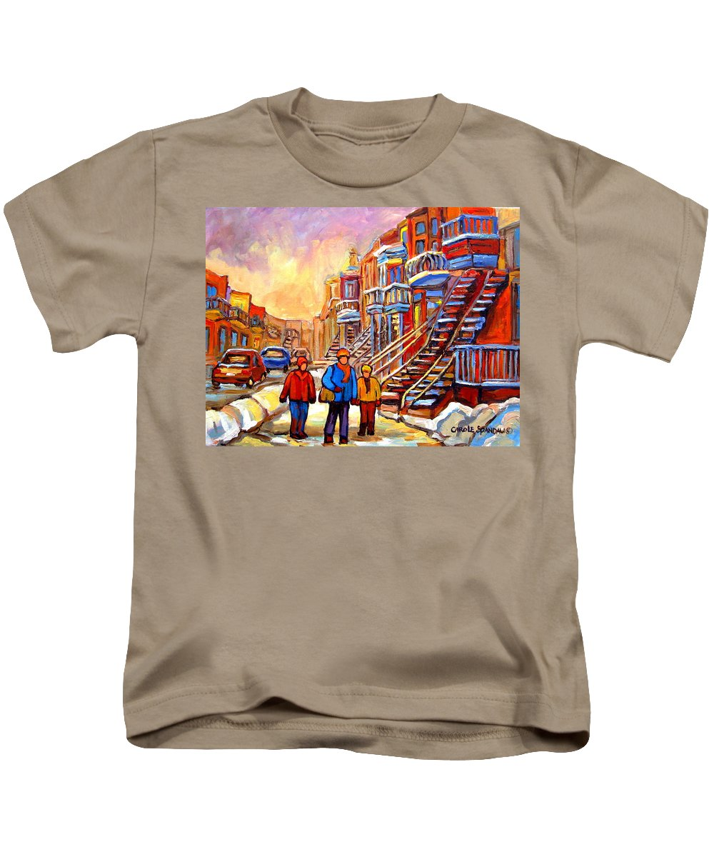 At The End Of The Day Kids T-Shirt featuring the painting At The End Of The Day by Carole Spandau