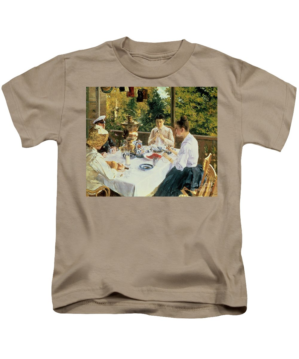 The Kids T-Shirt featuring the painting At The Tea-table by Konstantin Alekseevich Korovin