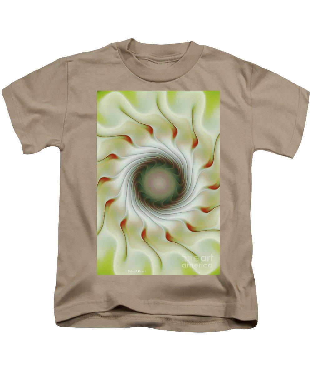Fractal Art Kids T-Shirt featuring the digital art Auger Wheel Spin by Deborah Benoit