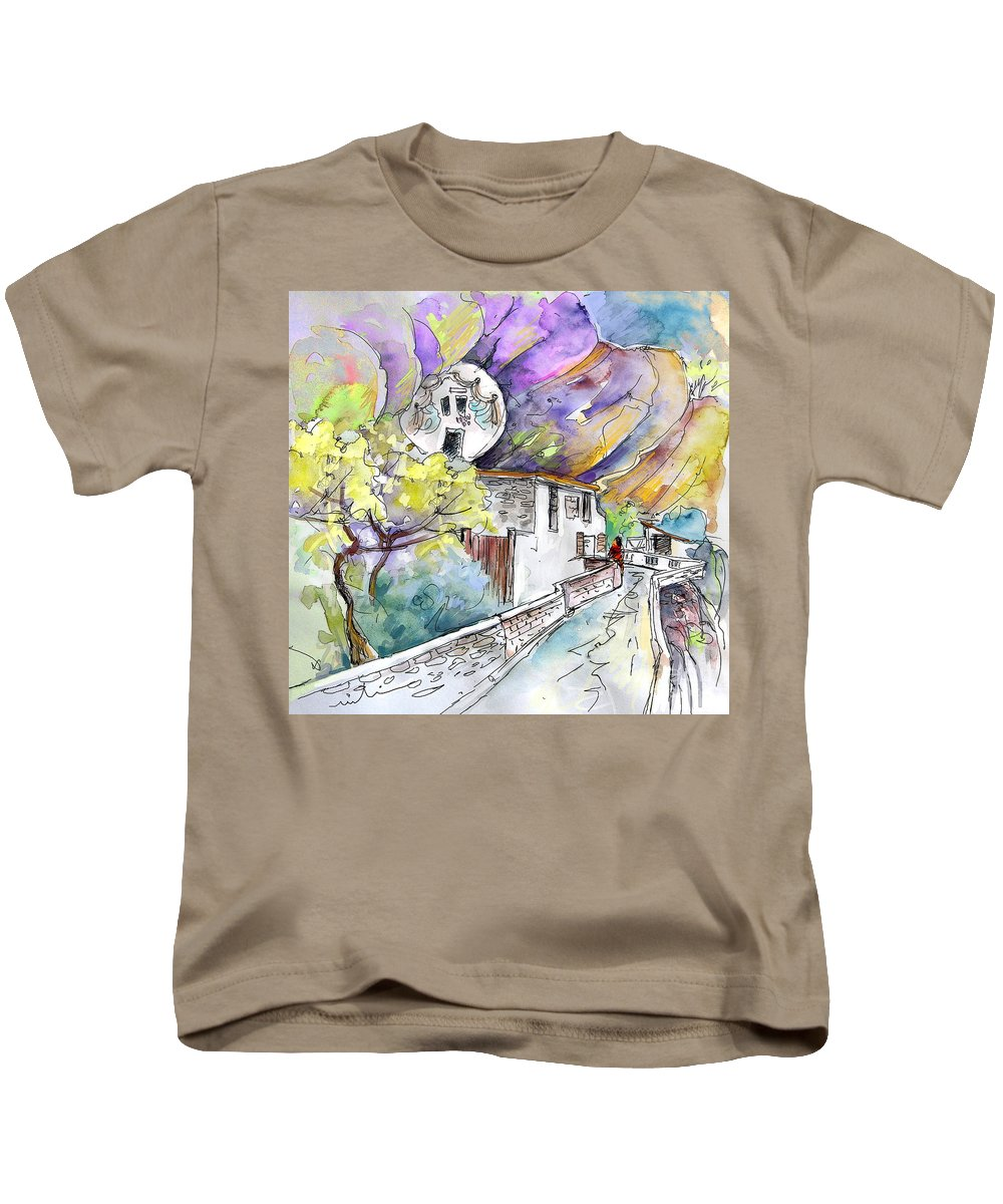 Arnedillo Kids T-Shirt featuring the painting Autol In La Rioja Spain 03 by Miki De Goodaboom