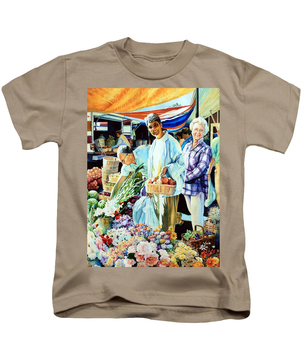 Cambridge Farmers Market Kids T-Shirt featuring the painting Autumn Bounty by Hanne Lore Koehler