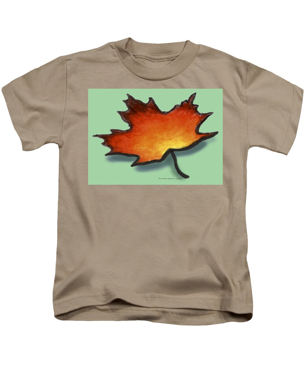 Leaf Kids T-Shirt featuring the greeting card Autumn Leaf by Kevin Middleton