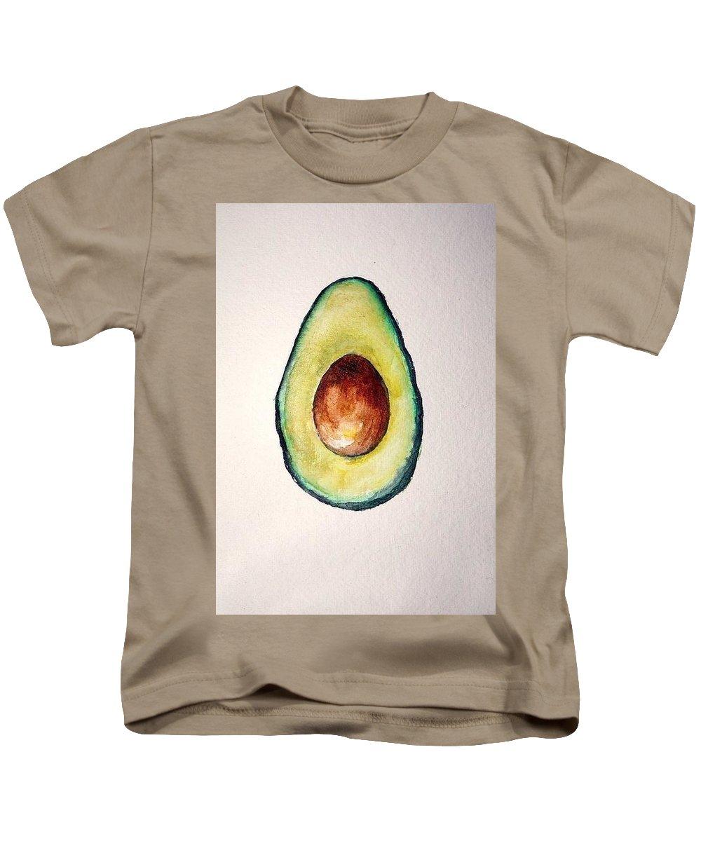 Avocado Paint Kids T-Shirt featuring the digital art Avocado Paint by Aton Maiti