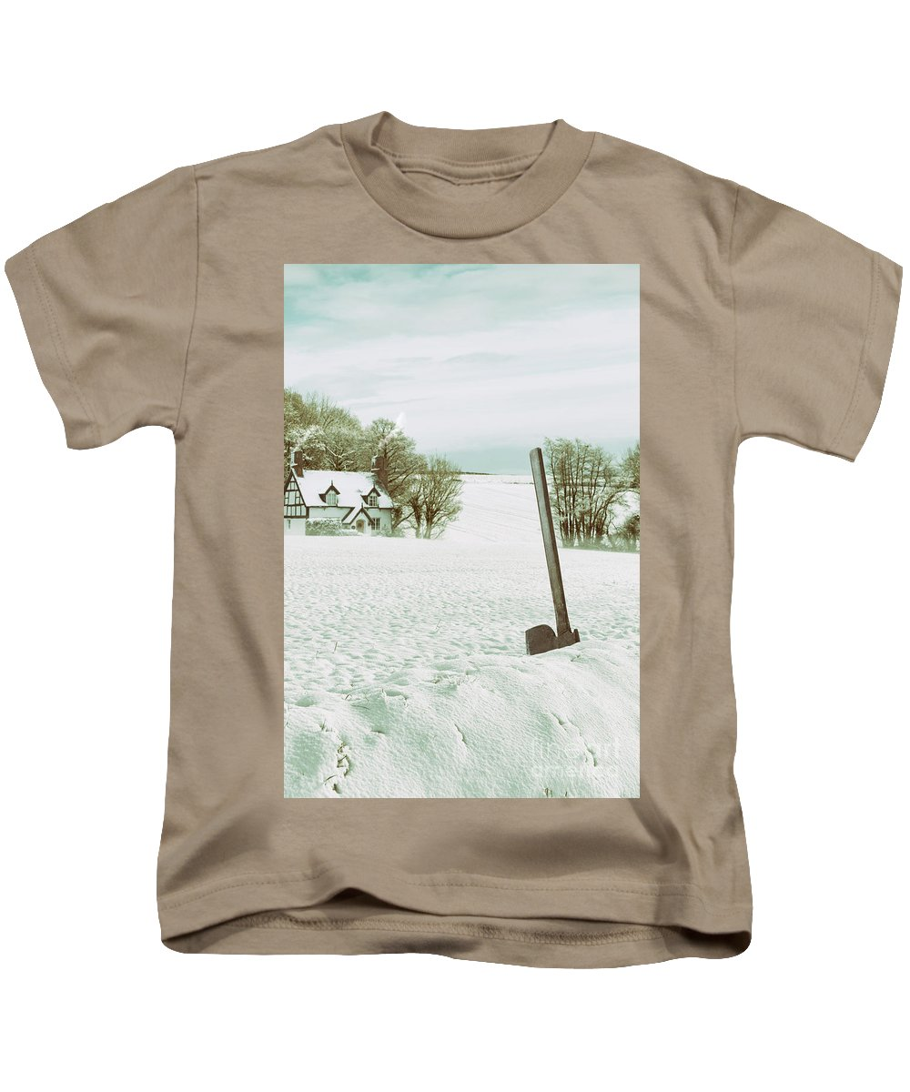 Snow Kids T-Shirt featuring the photograph Axe In Snow Scene by Amanda Elwell