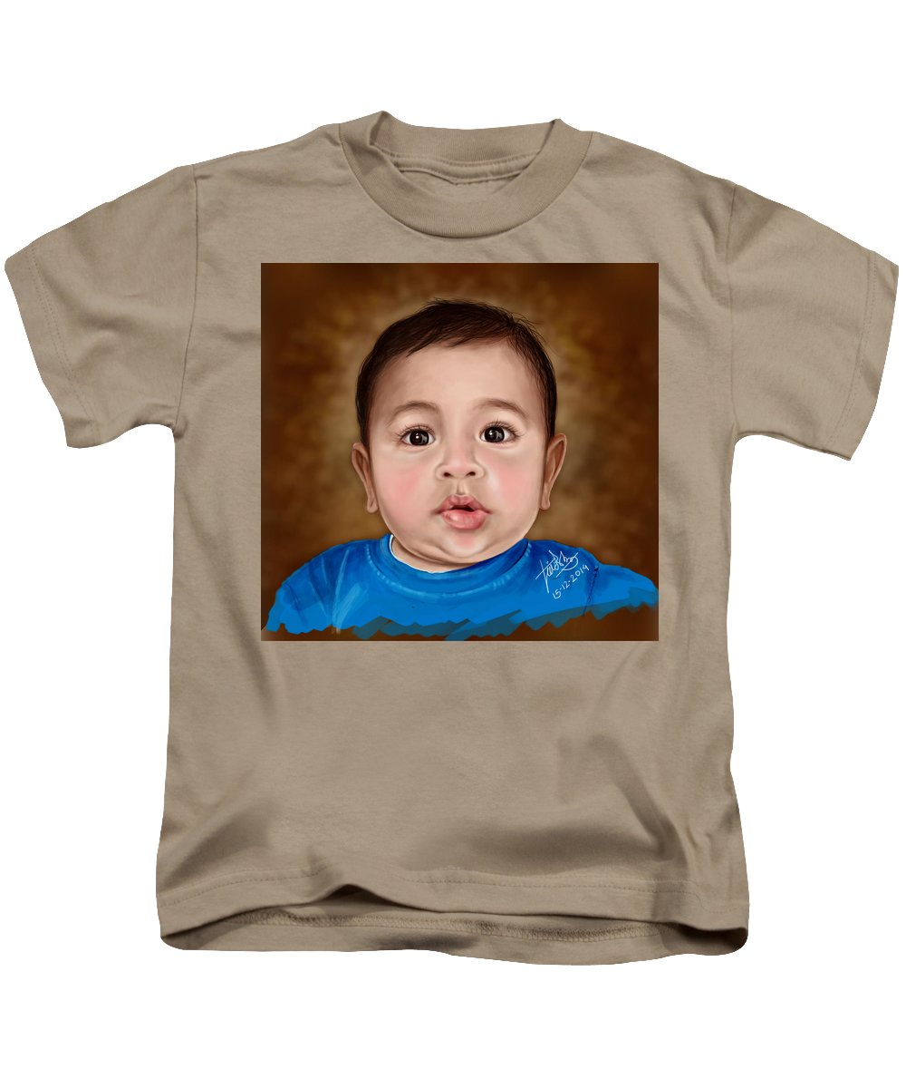 Kids T-Shirt featuring the digital art Baby Boy by Manish Hedaoo