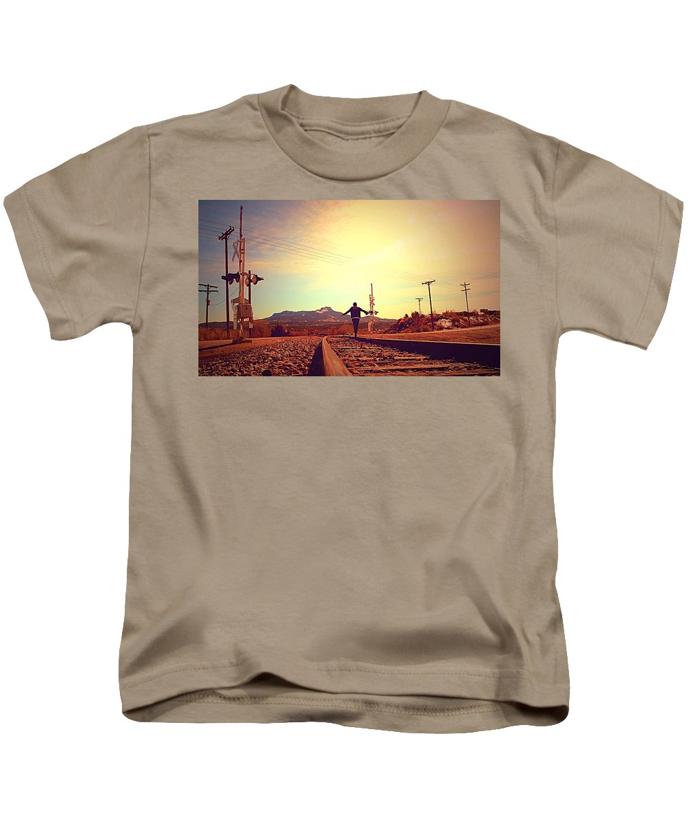 Train Tracks Kids T-Shirt featuring the photograph Balance by Chaznik Raab