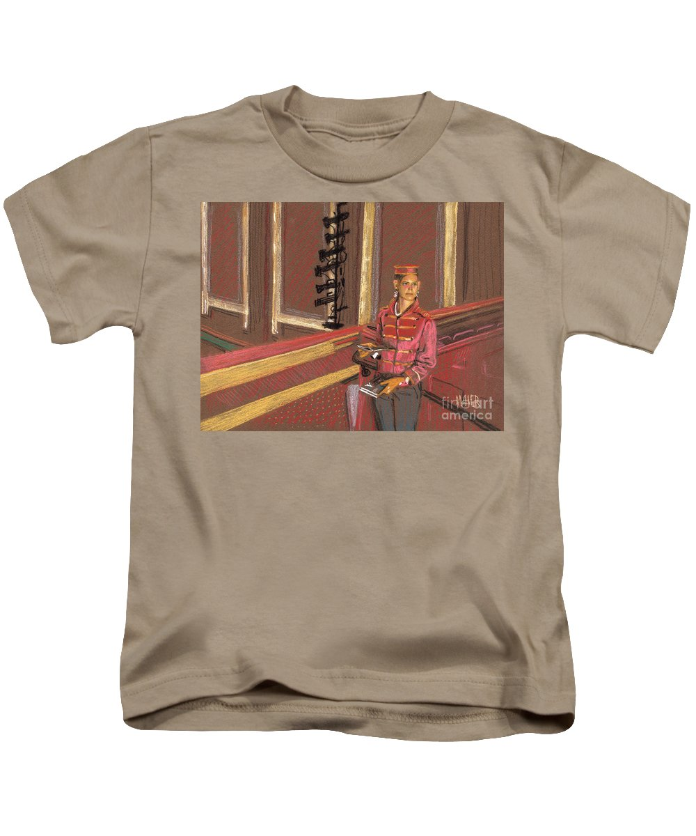 Movie Theather Kids T-Shirt featuring the drawing Balcony Usher by Donald Maier