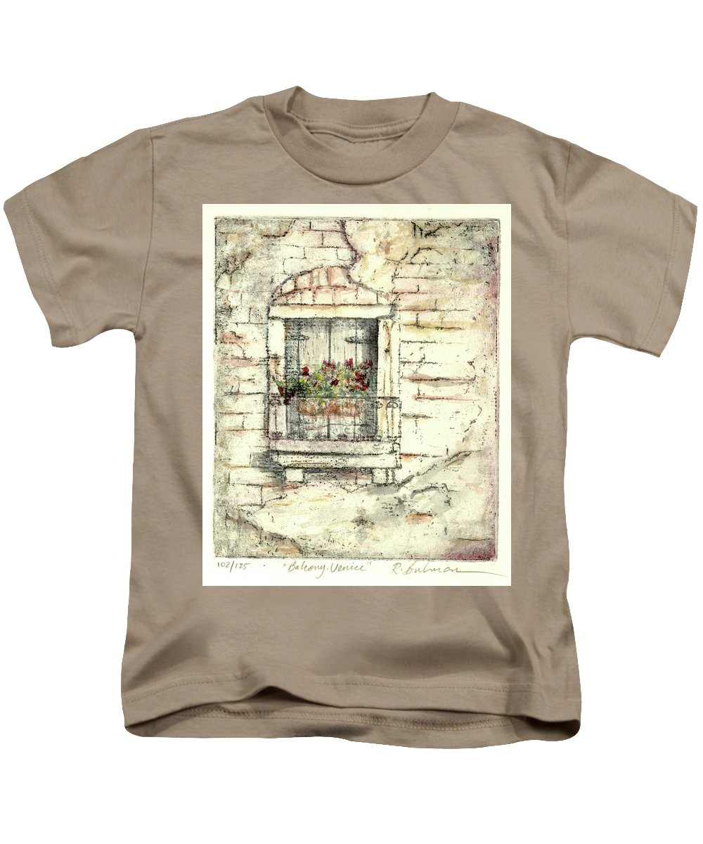 Venice Kids T-Shirt featuring the painting Balcony Venice by Richard Bulman