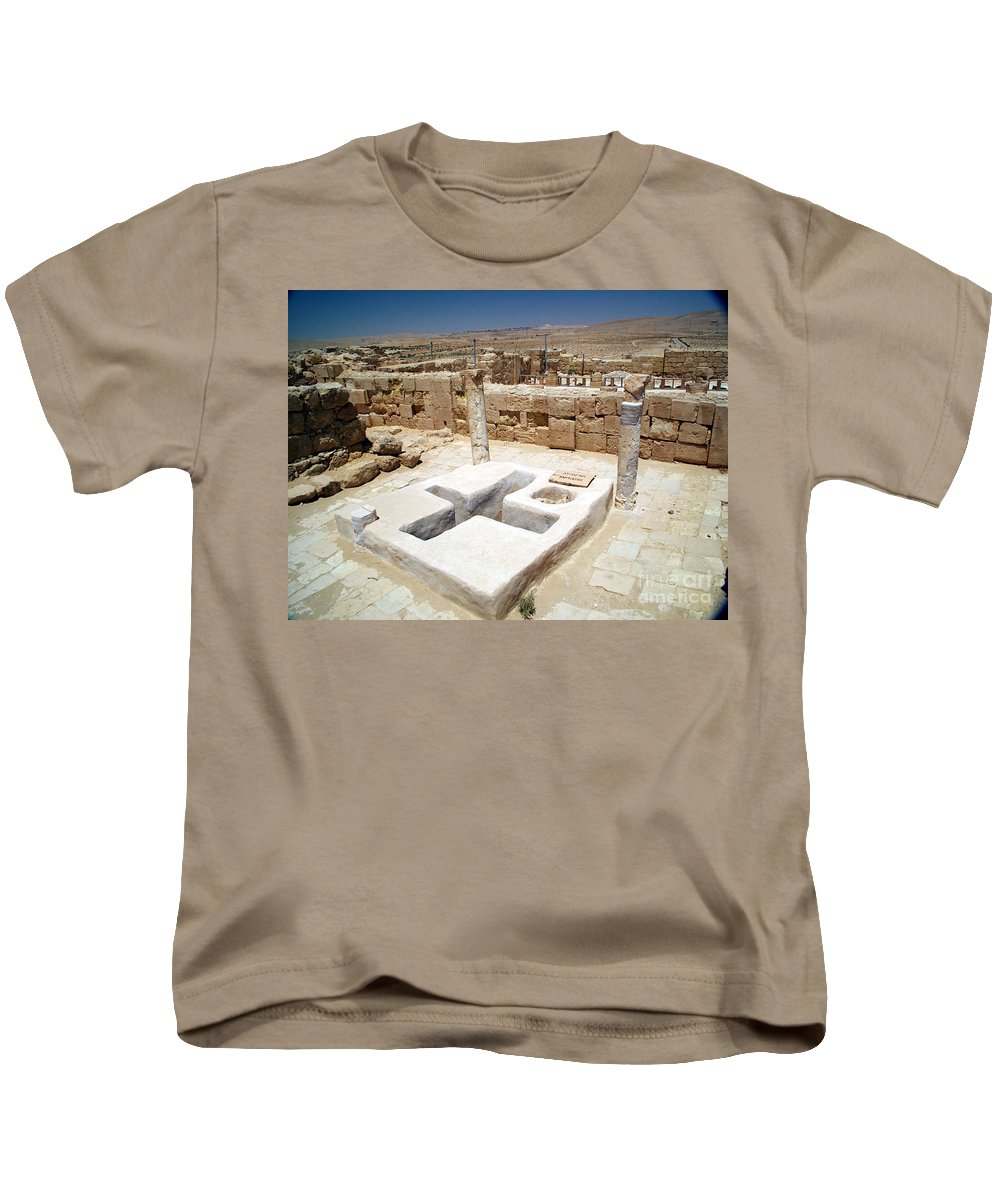 Baptistery Kids T-Shirt featuring the photograph Baptistery Eastern Church Mamshit Israel by Avi Horovitz