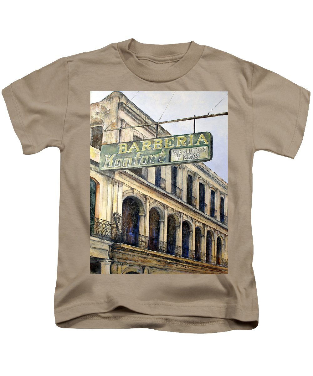 Konfort Barberia Old Havana Cuba Oil Painting Art Urban Cityscape Kids T-Shirt featuring the painting Barberia Konfort by Tomas Castano