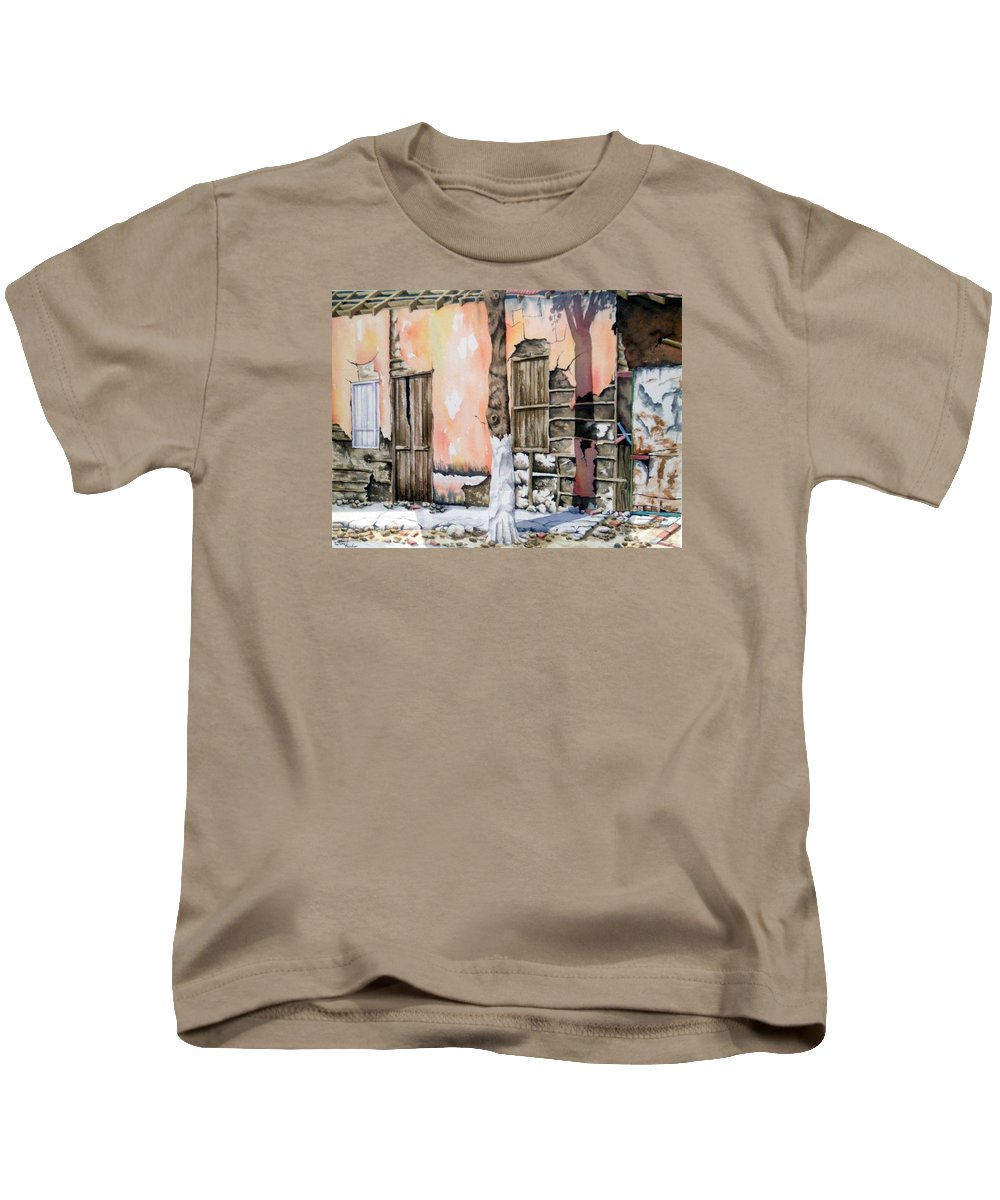 Lanscape Kids T-Shirt featuring the painting Bareque II by Tatiana Escobar