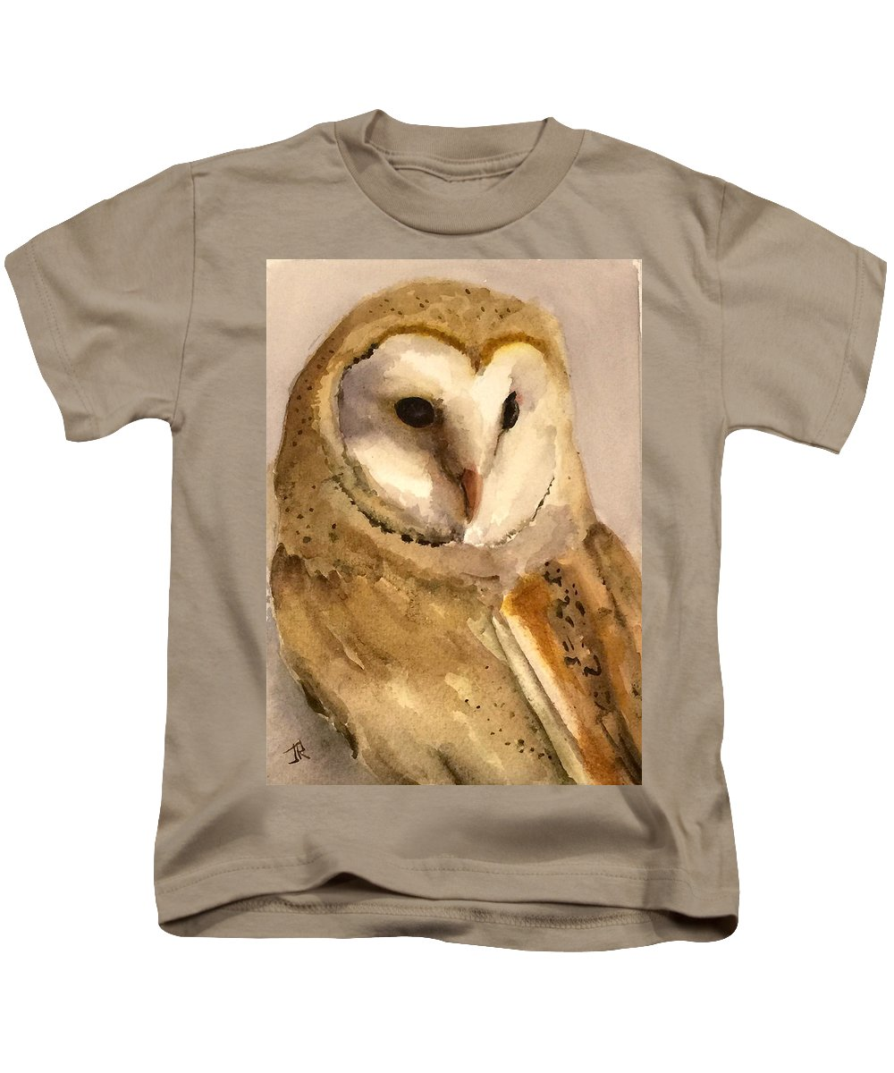 Wildlife Kids T-Shirt featuring the painting Barn Owl by June Rollins
