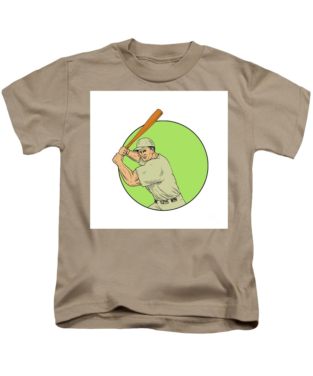 Drawing Kids T-Shirt featuring the digital art Baseball Player Batting Stance Circle Drawing by Aloysius Patrimonio