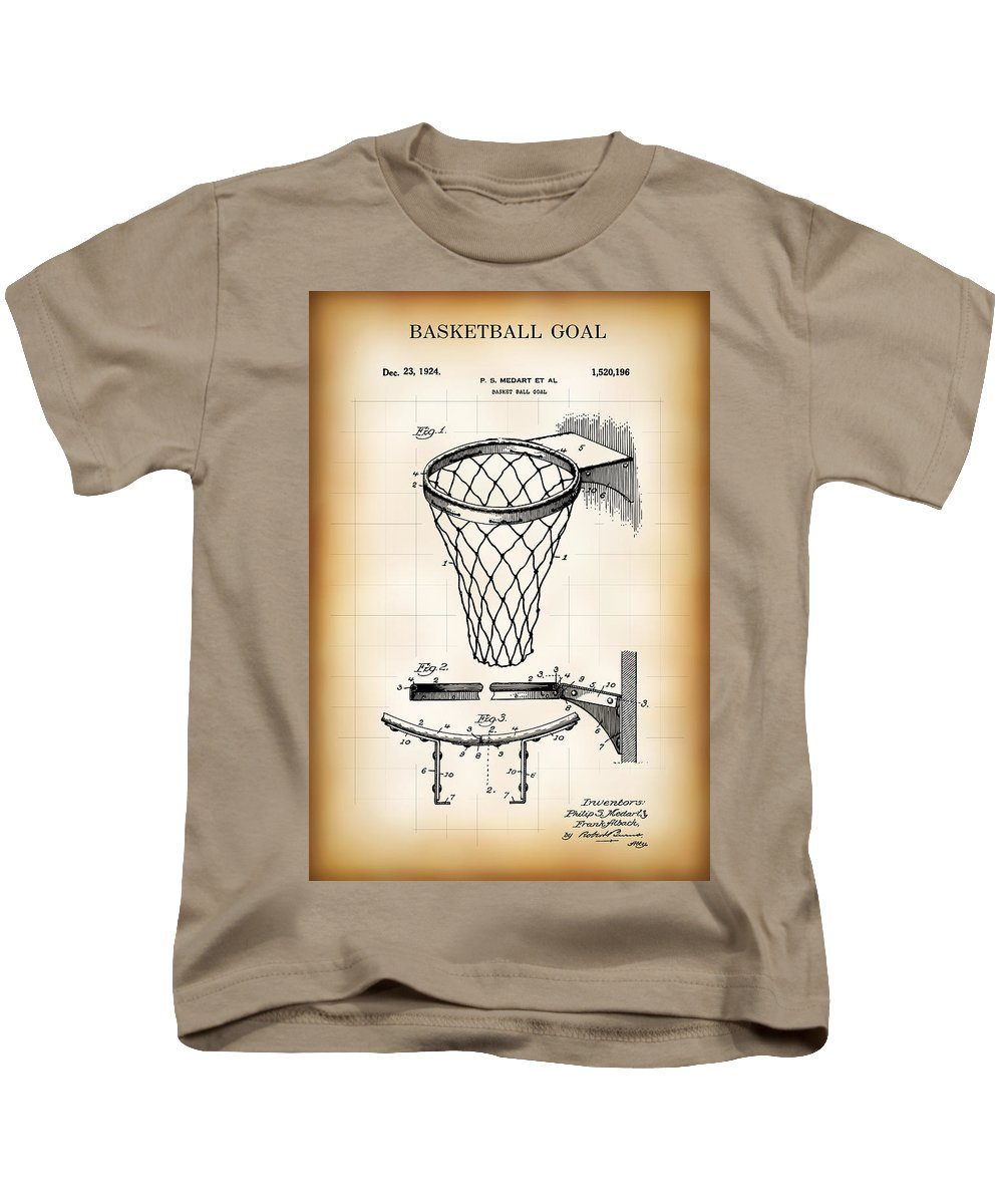 Patent Kids T-Shirt featuring the digital art Basketball Goal Patent 1924 by Daniel Hagerman