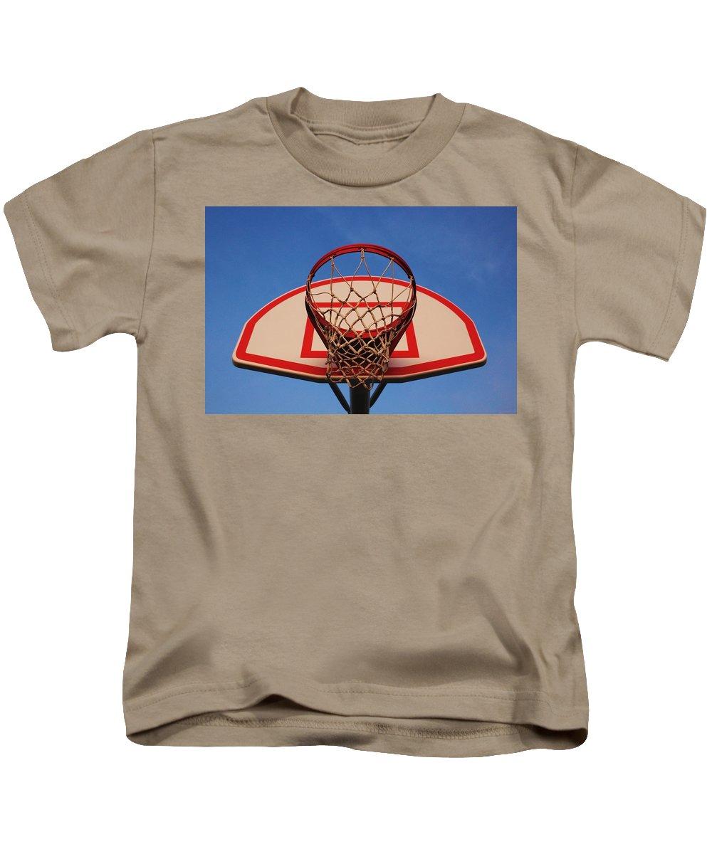 Basketball Kids T-Shirt featuring the photograph Basketball Hoop by Hunter Kotlinski