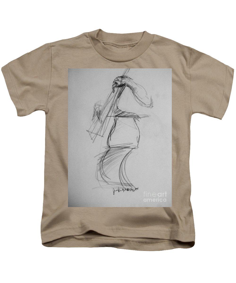 Bass Kids T-Shirt featuring the drawing Bass Man by Jamey Balester