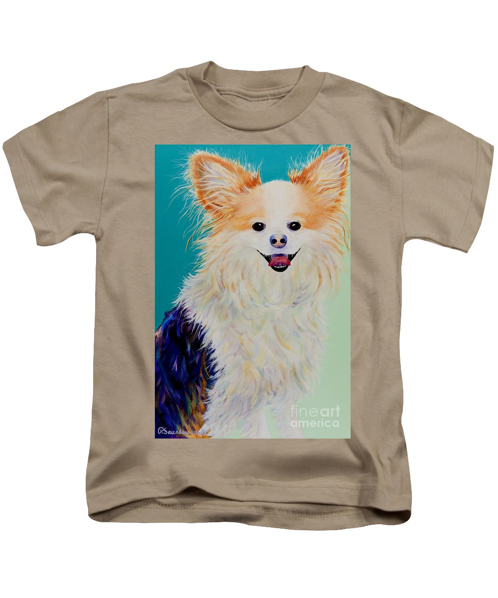 Animal Kids T-Shirt featuring the painting Baxter by Pat Saunders-White