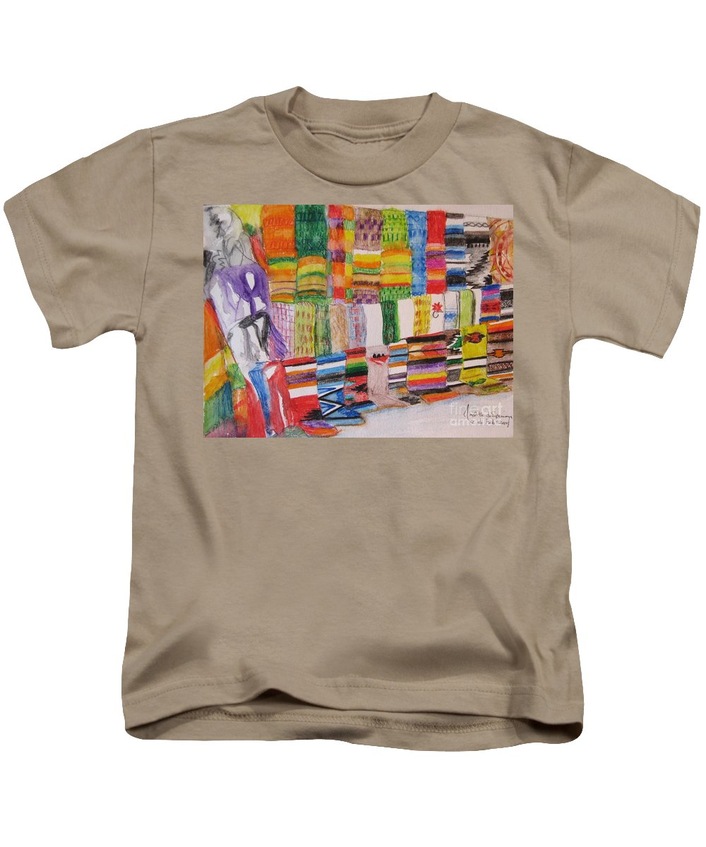 Bright Colors Kids T-Shirt featuring the painting Bazaar Sabado - Gifted by Judith Espinoza