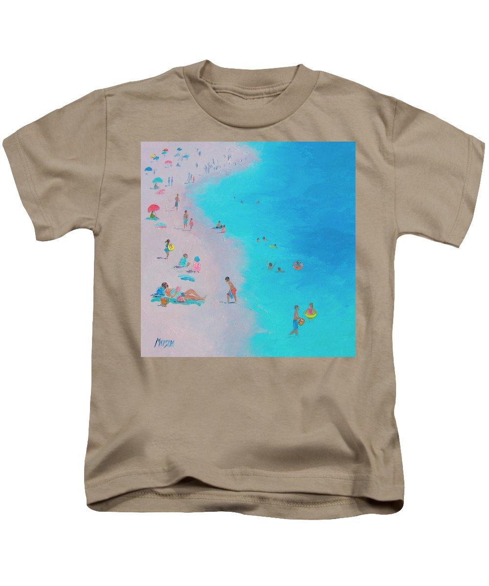 Beach Kids T-Shirt featuring the painting Beach Bliss by Jan Matson
