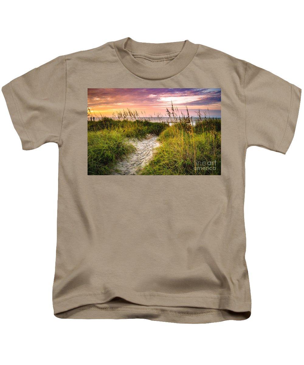 Beach Kids T-Shirt featuring the photograph Beach Path Sunrise by David Smith