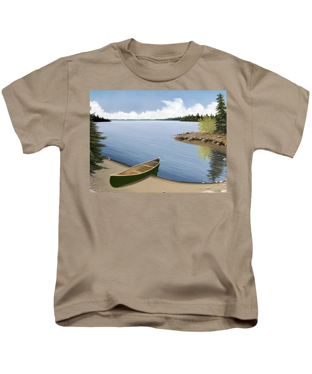 Canoe Kids T-Shirt featuring the painting Beached In Ontario by Kenneth M Kirsch