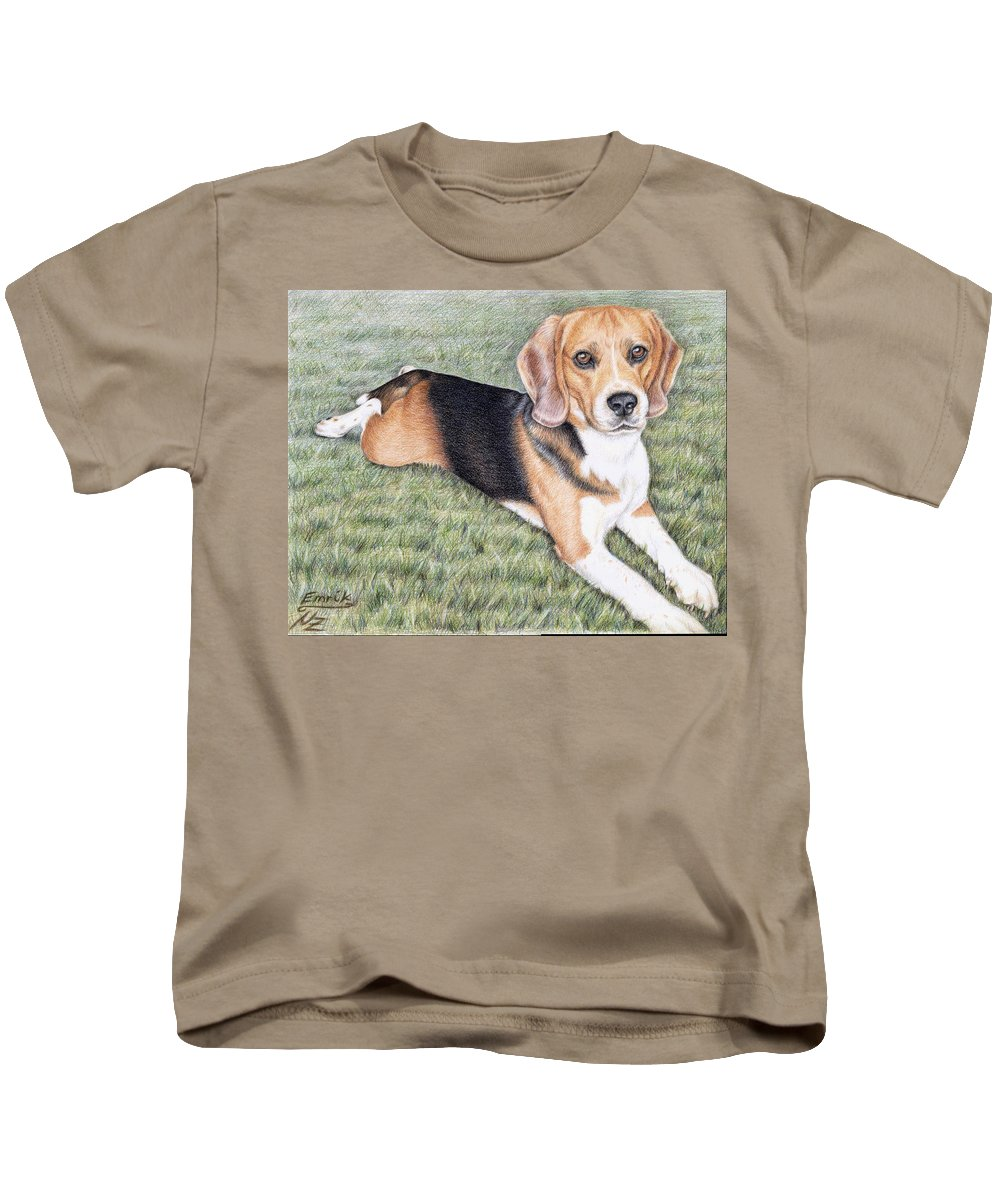 Dog Kids T-Shirt featuring the drawing Beagle by Nicole Zeug