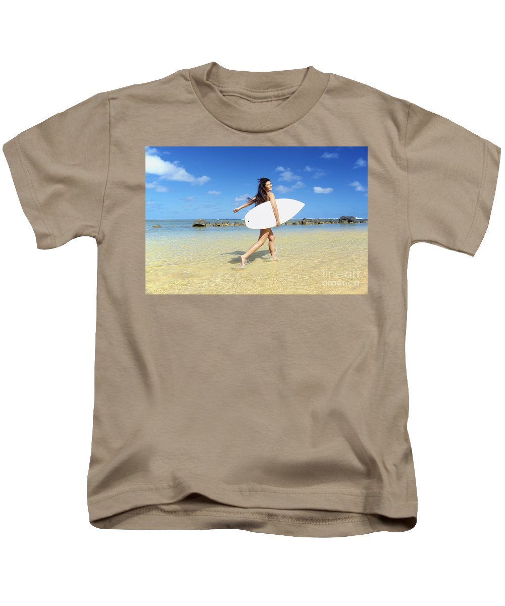 Activity Kids T-Shirt featuring the photograph Beautiful Surfer Girl by Kicka Witte