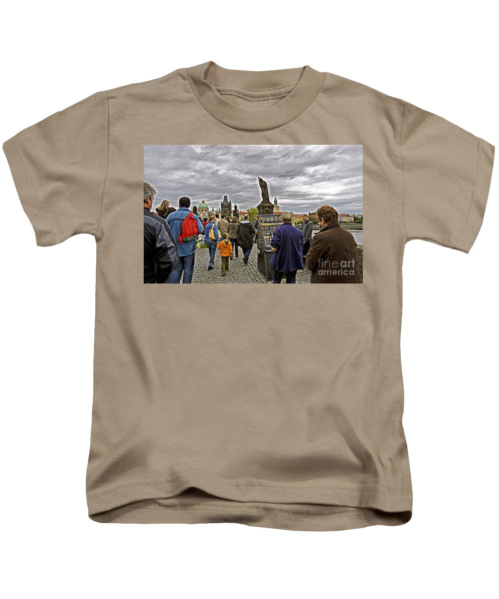 Prague Kids T-Shirt featuring the photograph Before The Rain On The Charles Bridge by Madeline Ellis