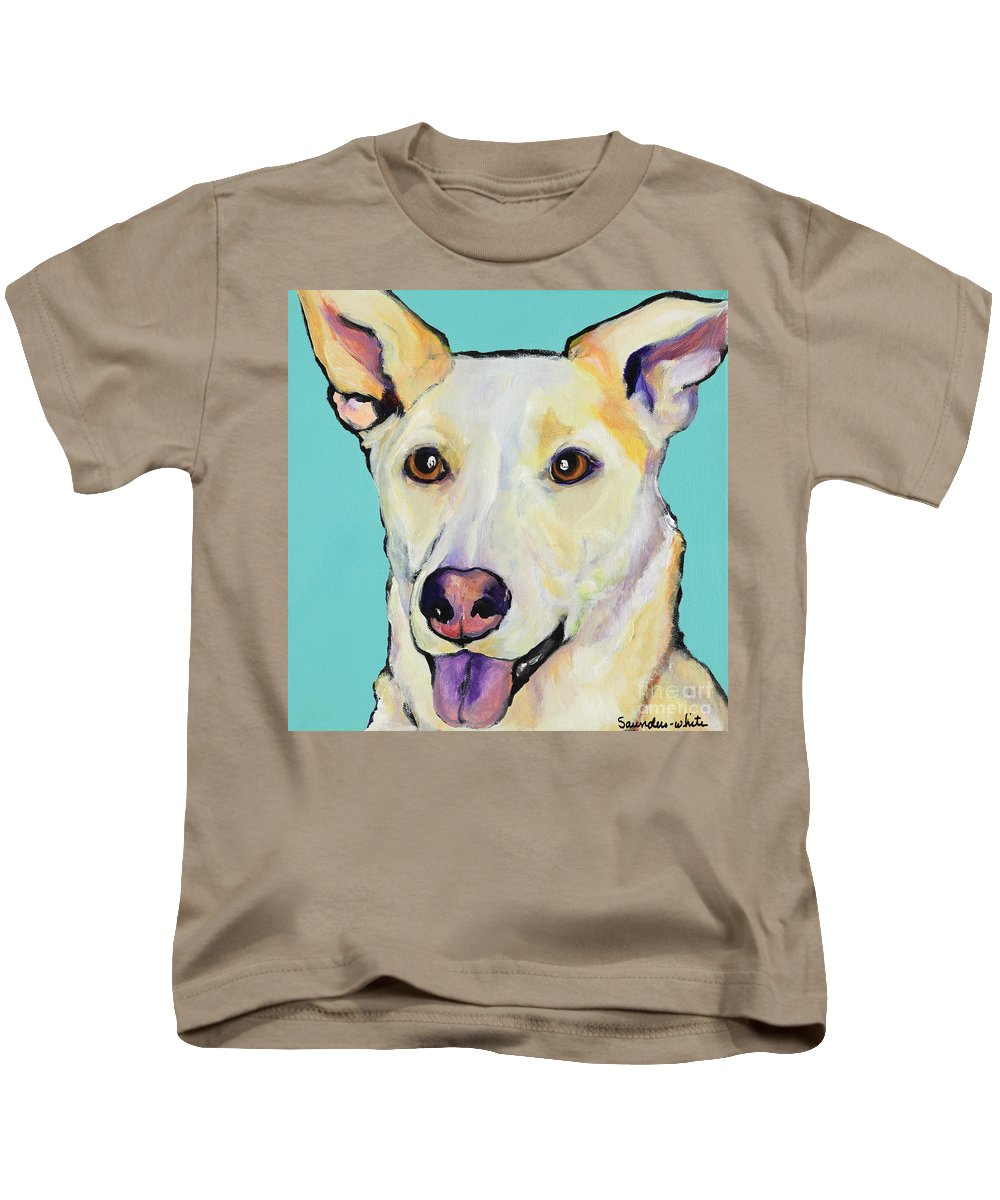 Dog Paintings Kids T-Shirt featuring the painting Bella by Pat Saunders-White