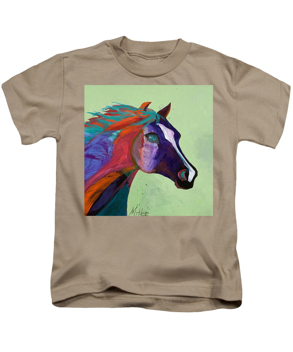 Horse Kids T-Shirt featuring the painting Bella by Tracy Miller
