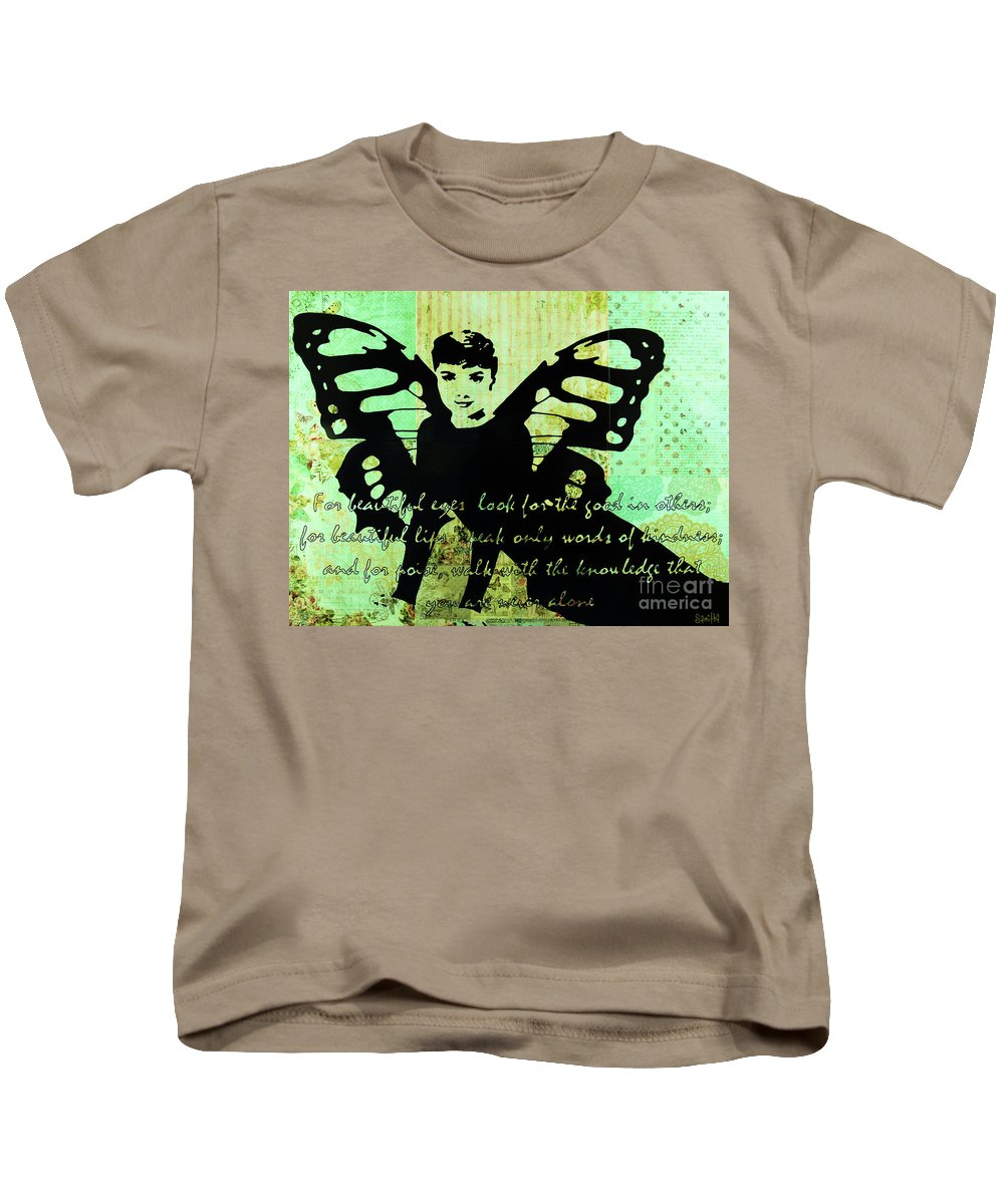 Audrey Butterfly Beautiful Woman Kids T-Shirt featuring the mixed media Beutiful by Samitha Edwards