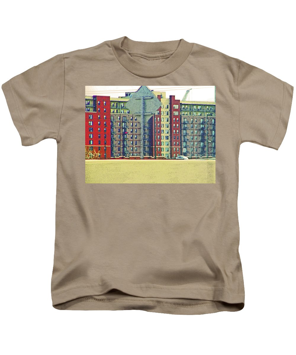 Abstract Kids T-Shirt featuring the photograph Big Boxes On The Hillside by Lenore Senior