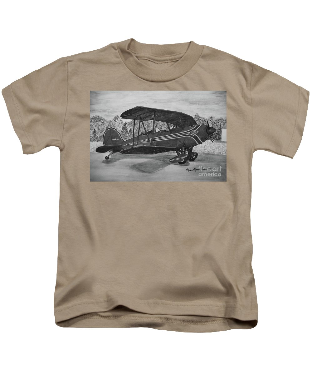 Biplane Kids T-Shirt featuring the painting Biplane In Black And White by Megan Cohen