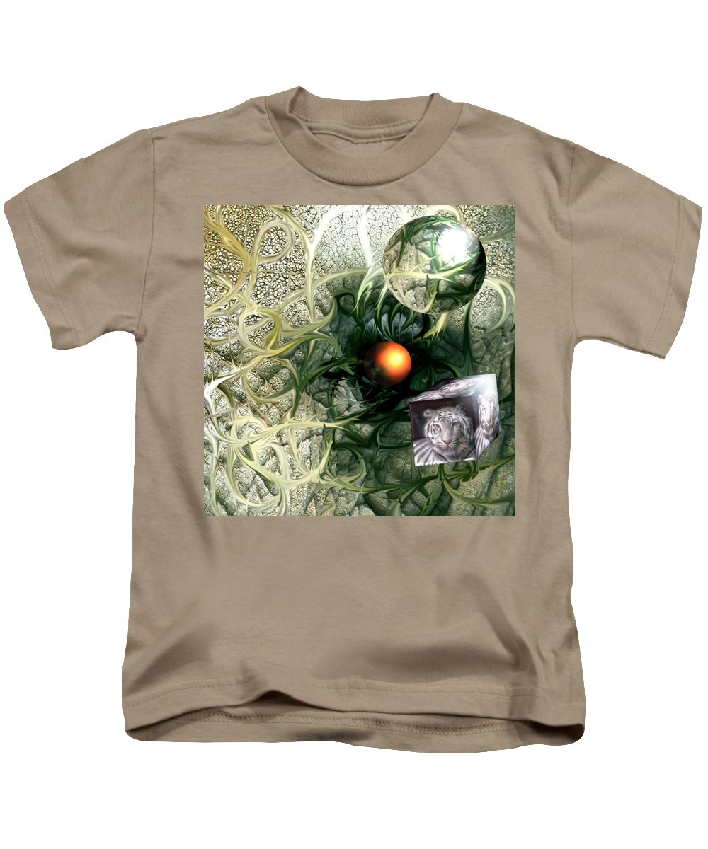 Abstract Nature Red Birth Tiger Spheres Wire Kids T-Shirt featuring the digital art Birth by Veronica Jackson