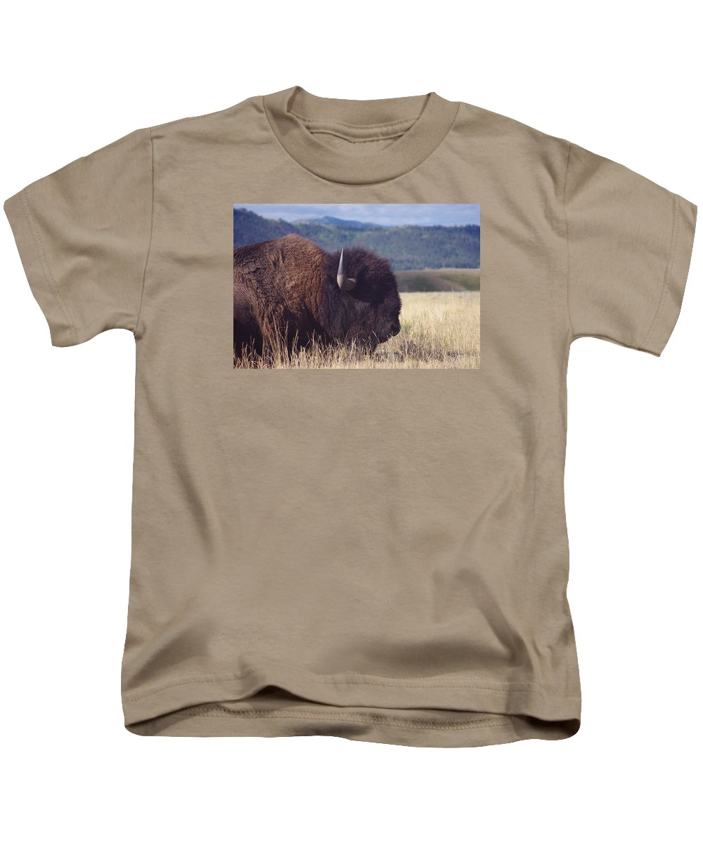 Photography Kids T-Shirt featuring the photograph Bison Strength by Michelle Fairchild