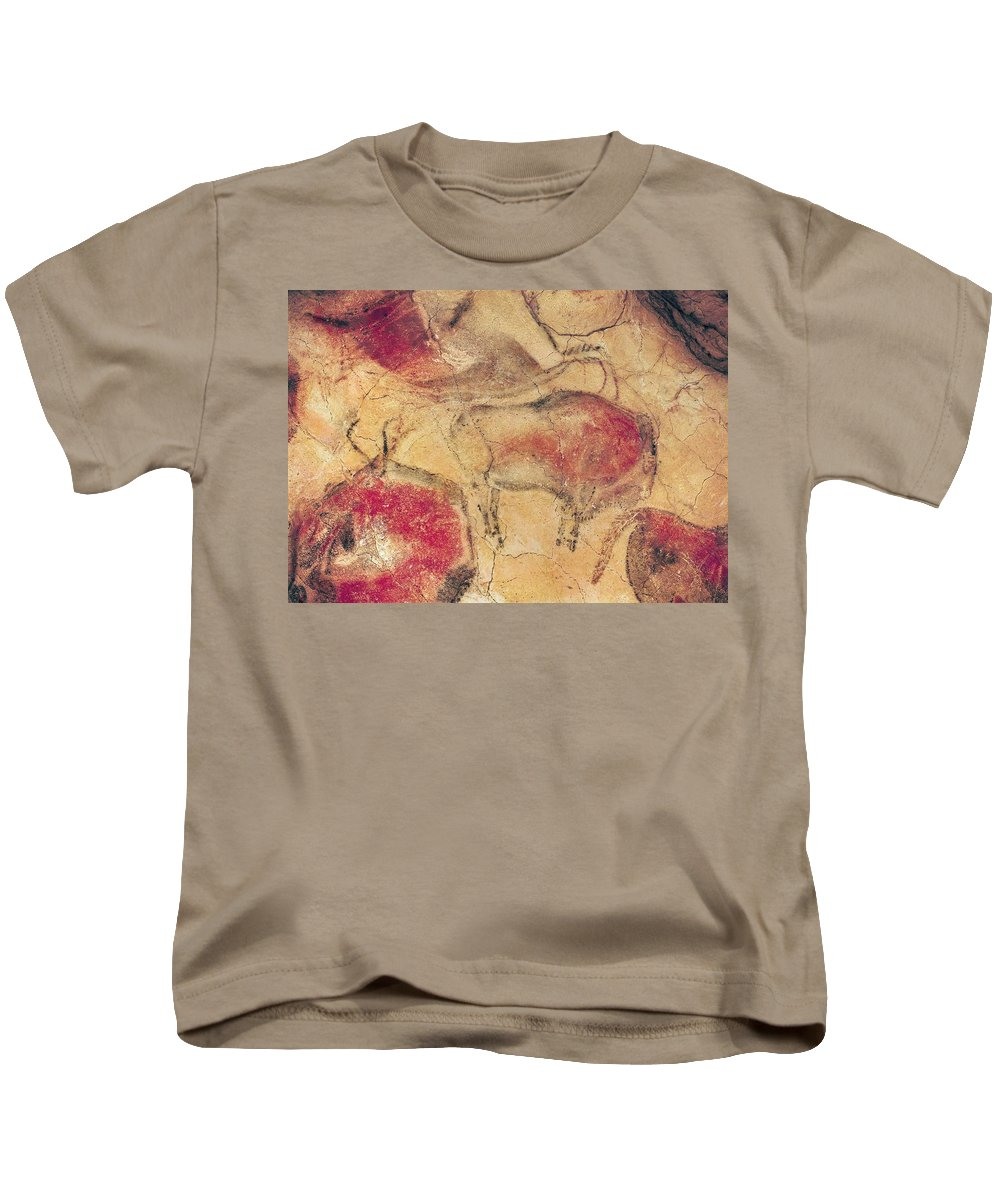 Bisons Kids T-Shirt featuring the painting Bisons From The Caves At Altamira by Prehistoric