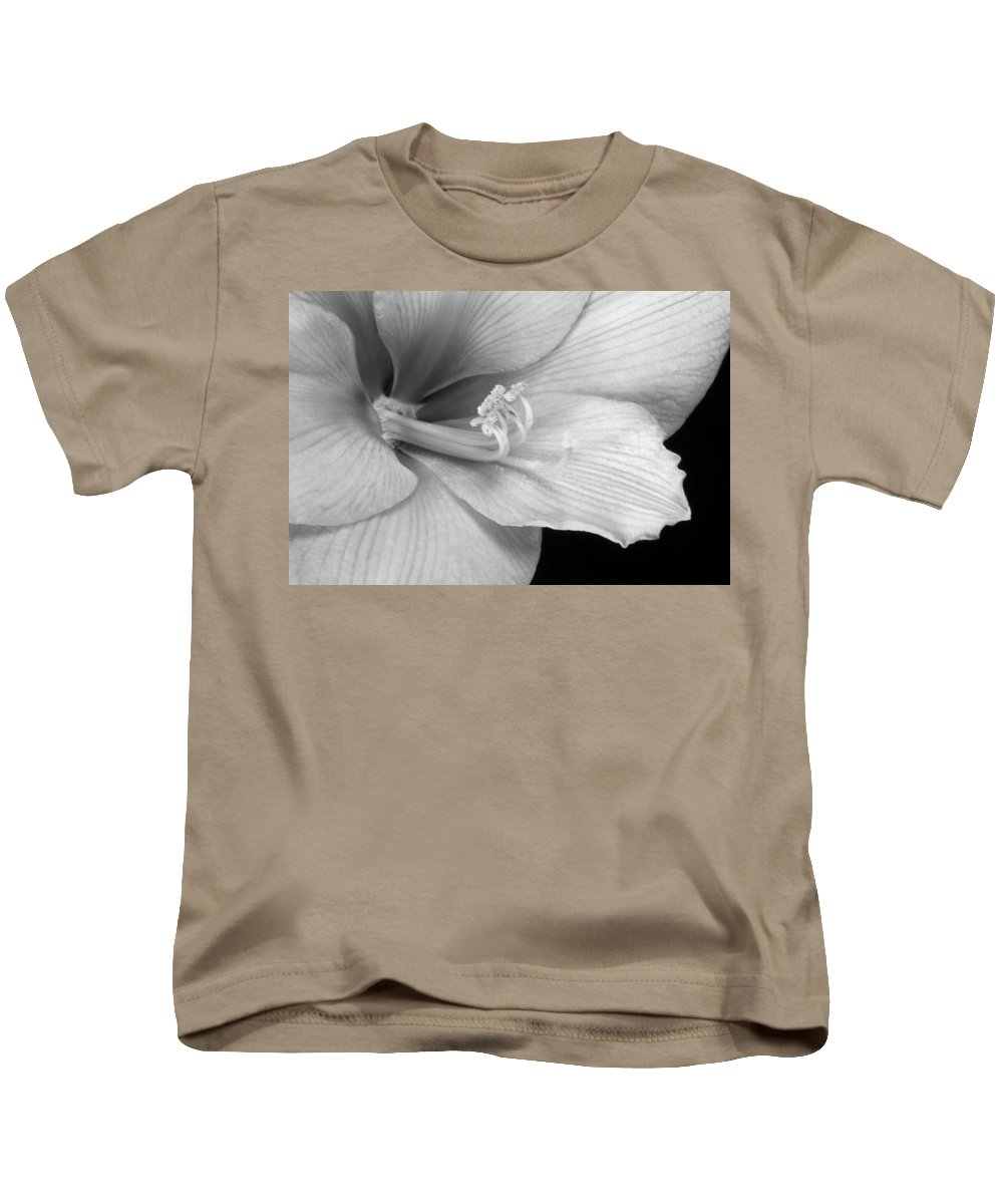 Colorful Kids T-Shirt featuring the photograph Black And White Amaryllis Bloom by James BO Insogna