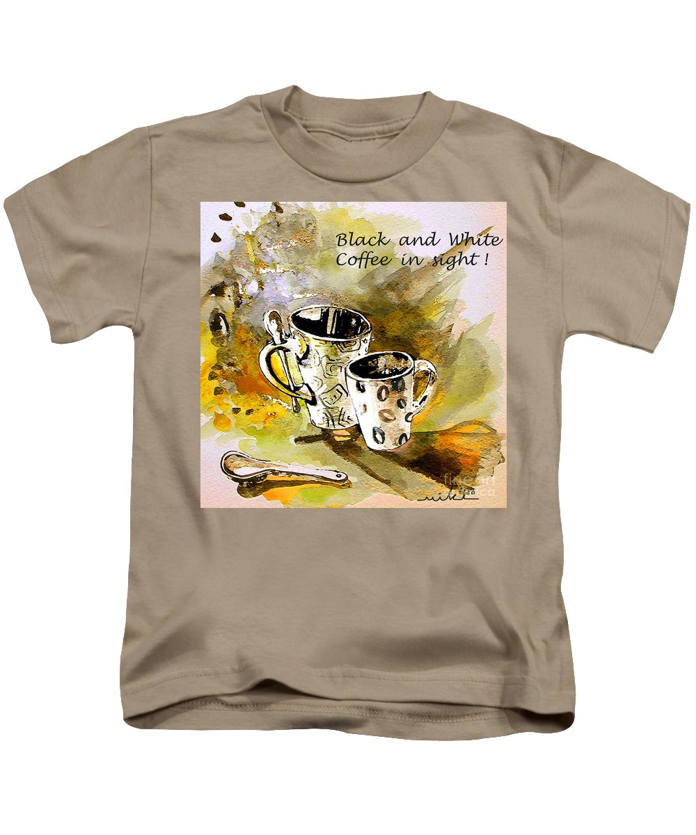 Cafe Crem Kids T-Shirt featuring the painting Black And White by Miki De Goodaboom