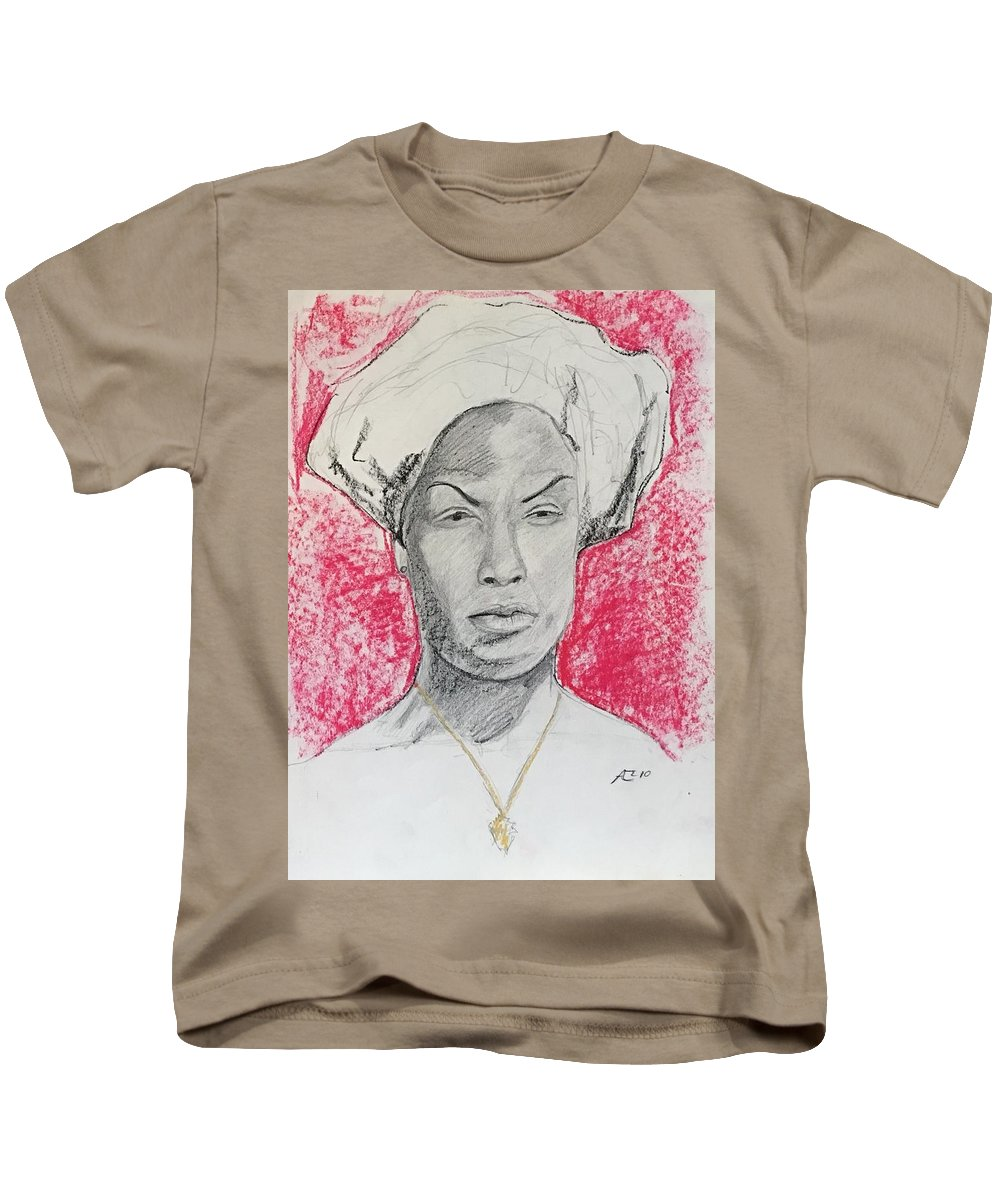 Kids T-Shirt featuring the drawing Black Woman With Red Background by Alejandro Lopez-Tasso