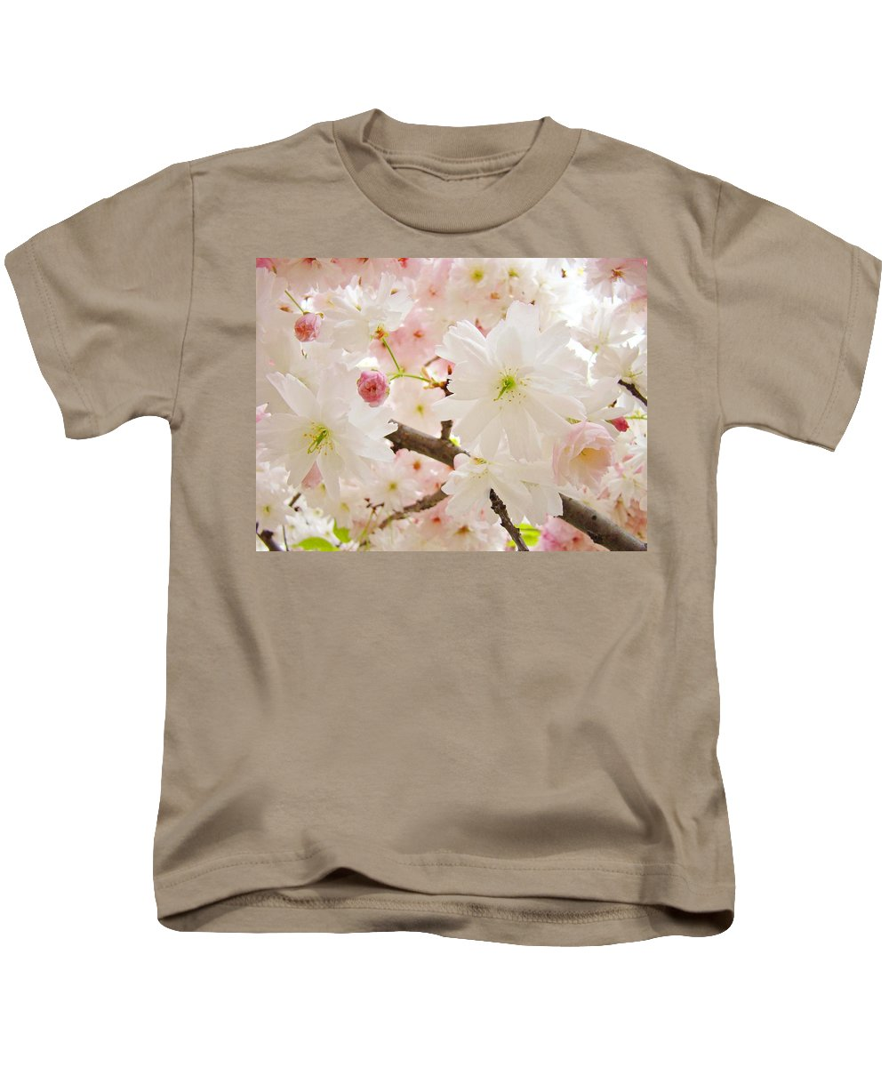 Nature Kids T-Shirt featuring the photograph Blossoms Art Print 53 Sunlit Pink Tree Blossoms Macro Springtime Blue Sky by Baslee Troutman