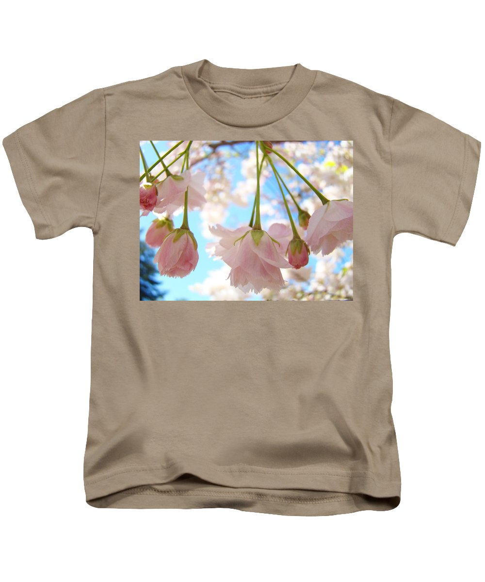 �blossoms Artwork� Kids T-Shirt featuring the photograph Blossoms Art Prints 52 Pink Tree Blossoms Nature Art Blue Sky by Baslee Troutman